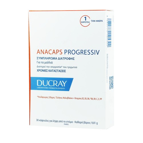 Ducray Anacaps Progressiv for Food Supplement for Hair 30caps