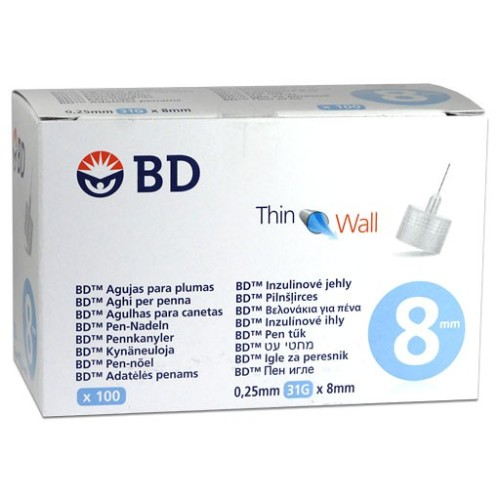 BD Thin Wall Insulin Needles For Pens 31G x 8mm 100pcs