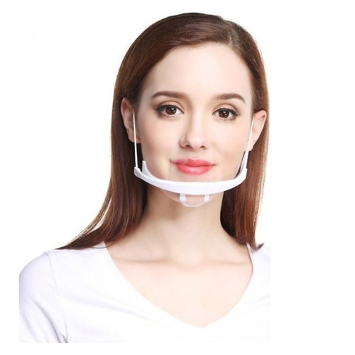 Half Mouth Protective Mask Anti-Saliva Transparent Plastic Mouth Mask 1pc