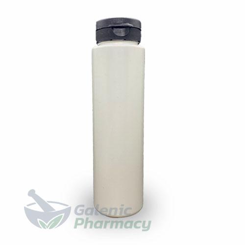 Empty Refillable White Plastic Bottle (PE) with black Flip Top 250ml, 1pcs