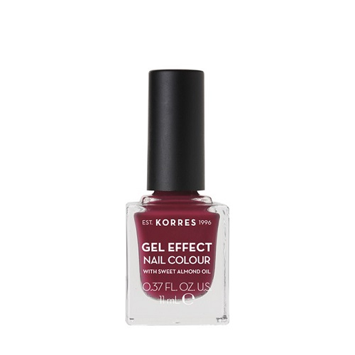Korres Gel Effect Nail Color No.74 Berry Addict Nail Polish, 11ml