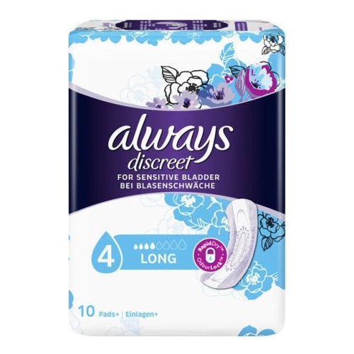 Always Discreet Long No 4 Large - Incontinence Sanitaryware, 10pcs