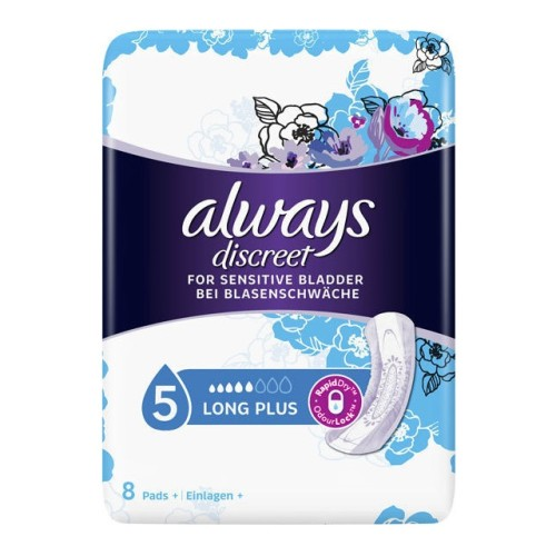 Always Discreet Long Plus No 5 - Incontinence Sanitaryware, 8pcs