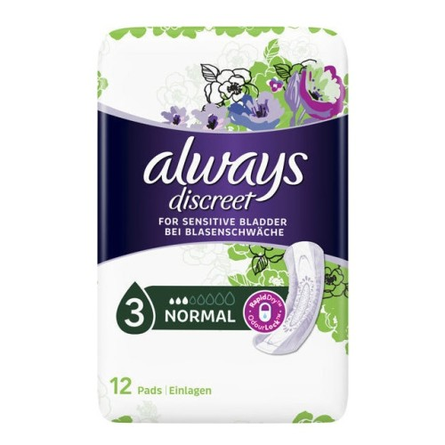 Always Discreet Normal No 3 - Incontinence Sanitaryware, 12pcs