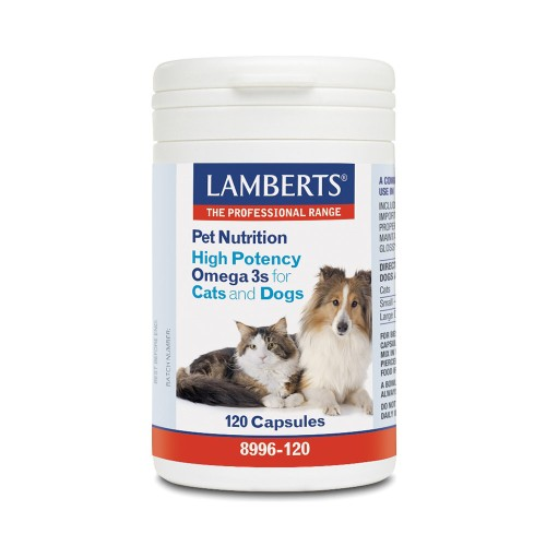 Lamberts Pet Nutrition High Potency Omega 3s for Cats and Dogs 120caps