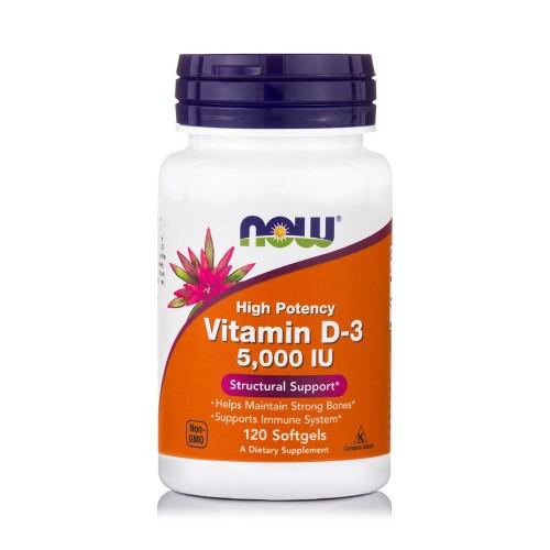 Now Foods Vitamin D-3 5000IU 120 Softgels