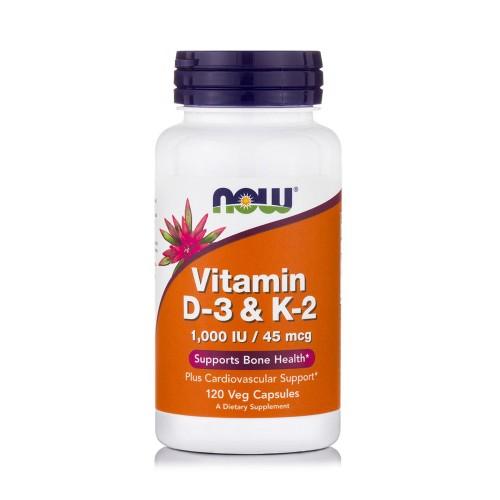 Now Foods Vitamin D3 1000IU & K2 45mcg Supports Bone Health 120veg. caps