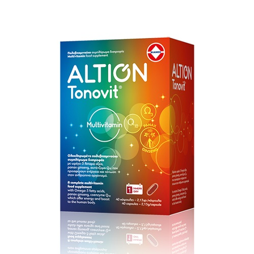 Vian Altion Tonovit Multivitamin with Omega-3, Q10 and Ginseng, 40caps