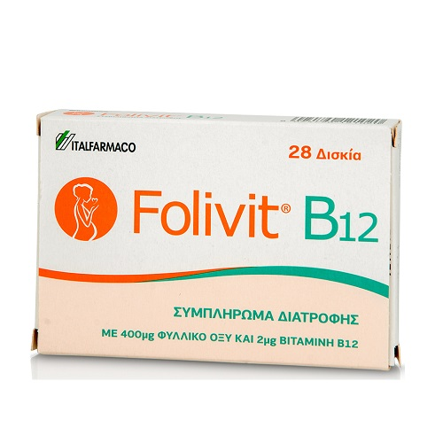 ITF Hellas Folivit Dietary Supplement with 400mg Folic Acid & 2mg B12 28tabs