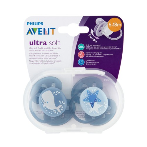 Philips Avent SCF223/03 Ultra Soft Silicone Pacifier 6-18m Blue/Grey 2pcs