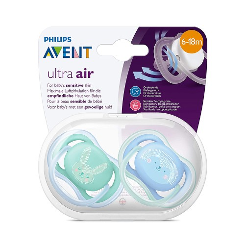 Philips Avent SCF344/22 Ultra Air Silicone Pacifier 6-18m Blue/Green 2pcs