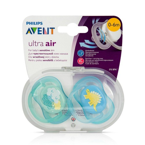 Philips Avent SCF344/20 Ultra Air Silicone Pacifier 0-6m Blue/Green 2pcs
