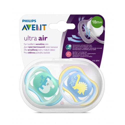 Philips Avent SCF349/11 Ultra Air Silicone Pacifier 18m+ Blue/Green 2pcs