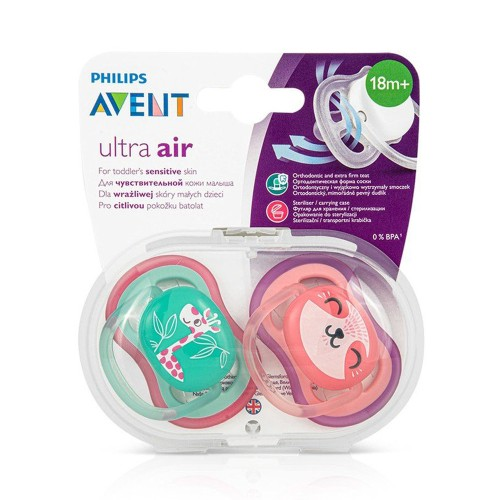 Philips Avent SCF349/12 Ultra Air Silicone Pacifier 18m+ Green/Pink 2pcs