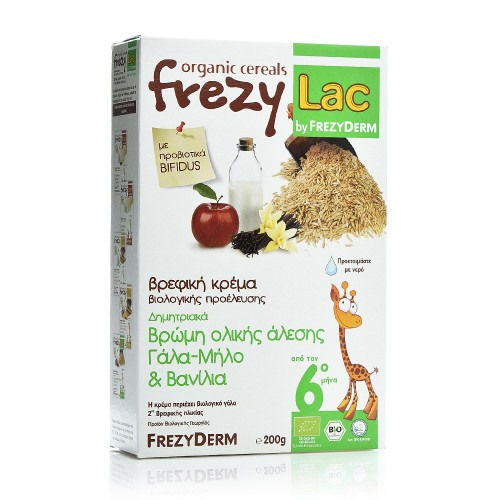Frezylac Bio Cereal with Organic Whole Grain Oat, Milk, Apple & Vanilla 200g
