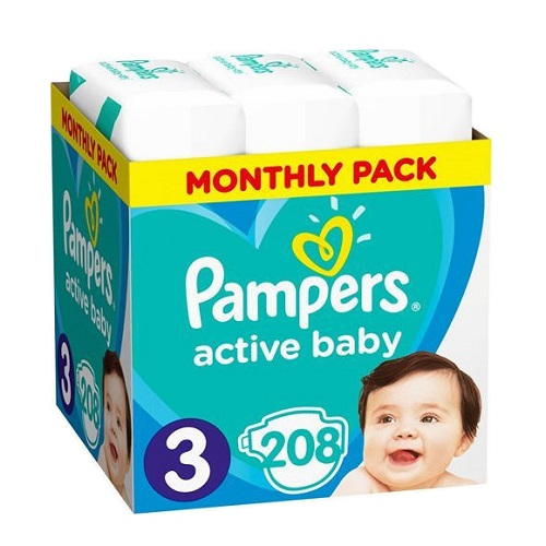 Pampers Active Baby Dry Monthly Pack No.3 (6-10kg) Baby Diapers, 208pcs