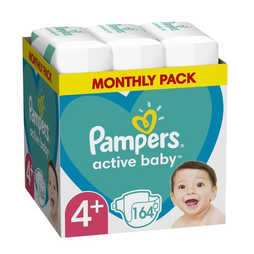 Pampers Active Baby Monthly Pack No.4+ (10-15kg) Baby Diapers 164pcs
