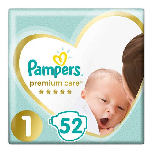 Pampers Diapers Premium Care No1 (2-5kg), 52pcs