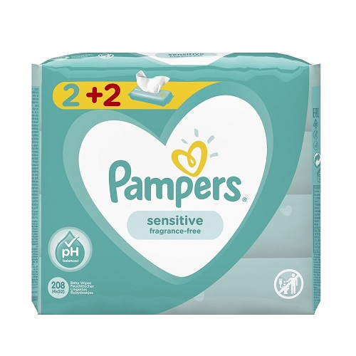 Pampers Sensitive Baby Wipes, 208pcs