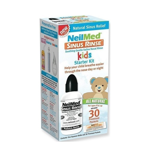NeilMed Sinus Rinse Pediatric Nasal Wash System for Kids Device + 30 Sachets
