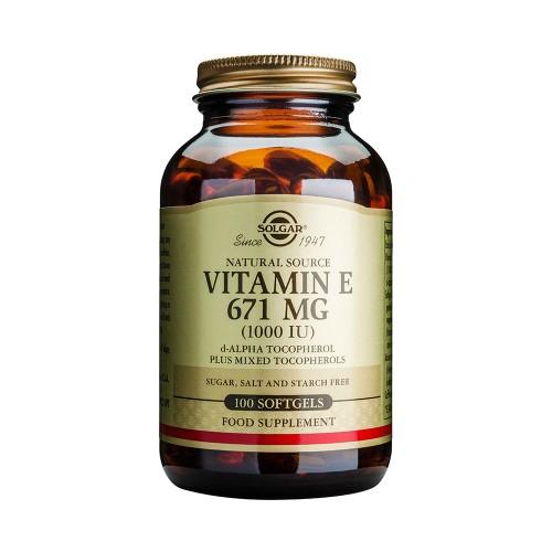 Solgar Natural Source Vitamin E 671mg (1000 IU) 100 Softgels